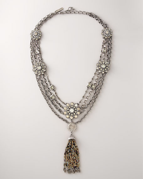 Crystal & Pewter Tassel Necklace