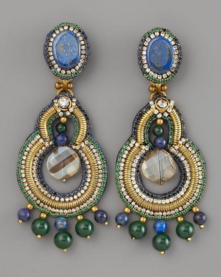 Lapis & Crystal Chandelier Earrings