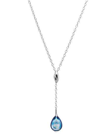 Fleurs De Psydelic Aqua-Blue Necklace, Small