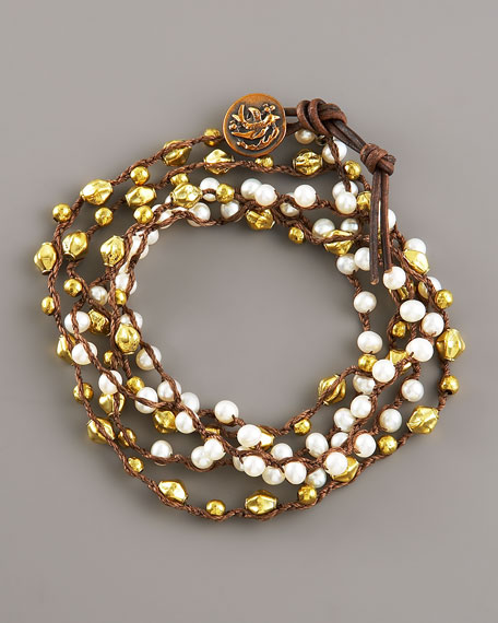 Pearl & Bronze Wrap Bracelet