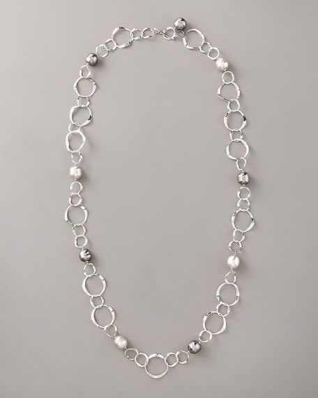 "Baroque Manmade Pearl & Link Necklace, 36""L"