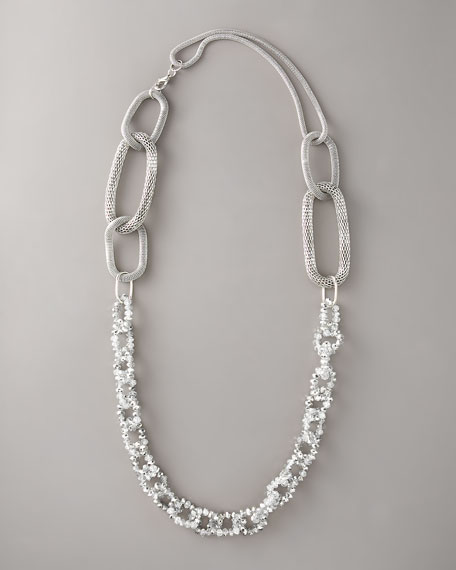 "Crystal & Popcorn-Link Necklace, 40""L"
