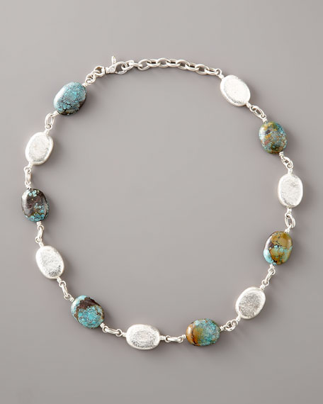 Turquoise & Silver Pebble Necklace