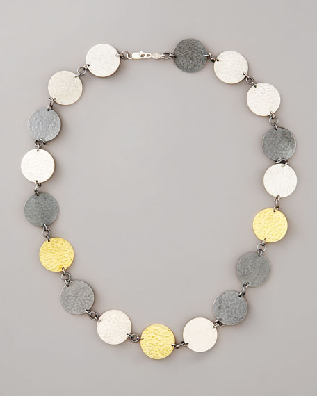 Mixed-Metal Hammered Disc Necklace