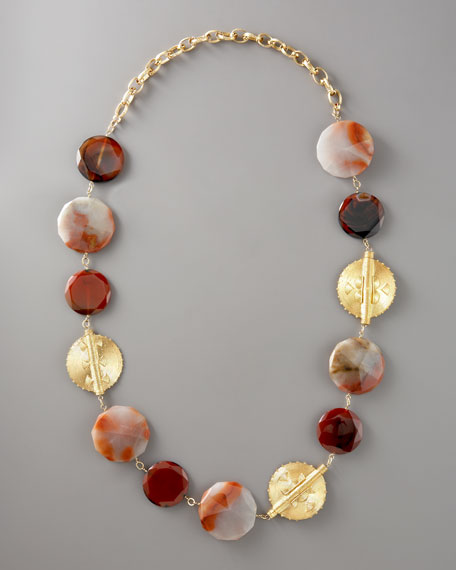 "Chalcedony & Gold Disk Necklace, 42""L"