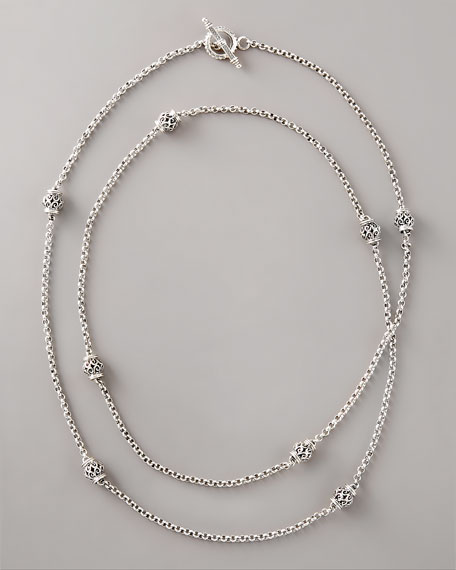 "Silver Station Necklace, 44""L"