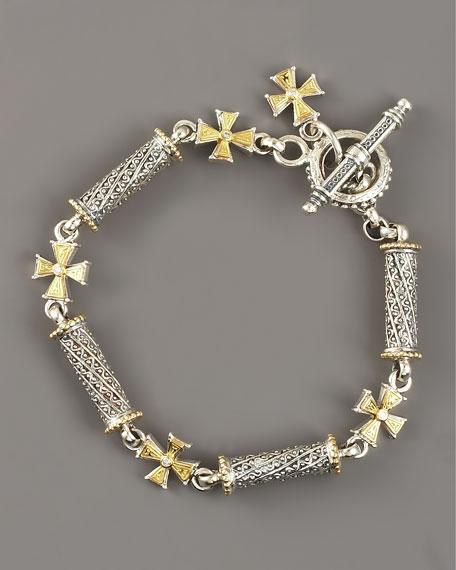 Diamond Cross Mixed-Metal Bracelet