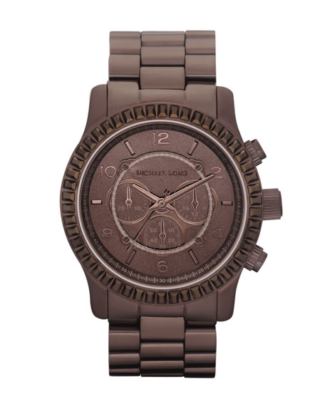 Dipped-Dial Baguette Chronograph Watch, Brown