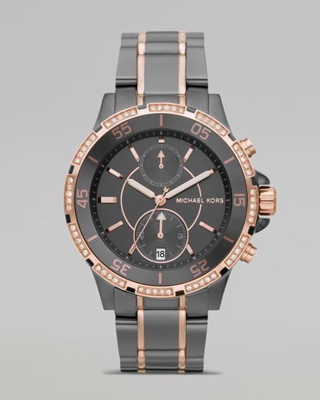 Two Tone Chronograph Watch, Gunmetal