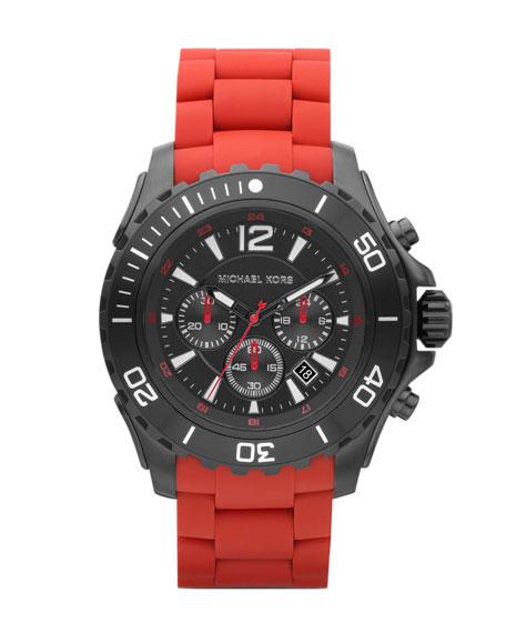 Round Chronograph Watch, Red Bracelet Strap