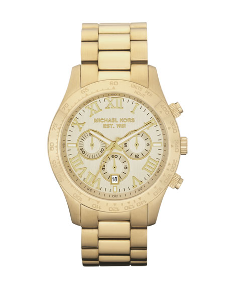 Stainless Steel Chronograph Layton Watch, Golden