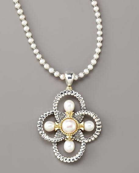 Luna Pearl Quatrefoil Pendant Necklace