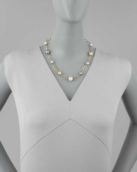 Multicolor Pearl Station Necklace