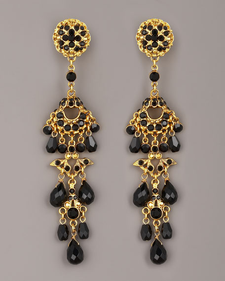 Crystal & Bead Drop Earrings, Black