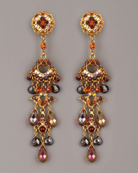 Crystal & Bead Drop Earrings, Topaz