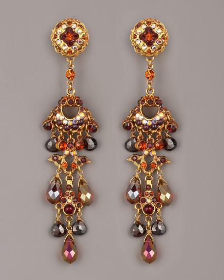 Crystal & Bead Drop Earrings, Topaz