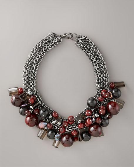 "Wine & Garnet Bead Necklace, 20""L"