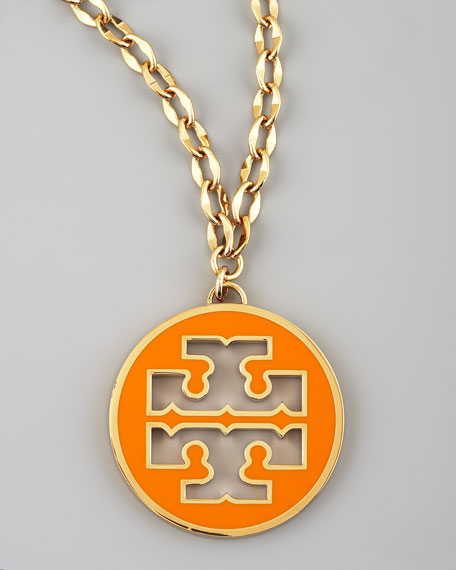 Logo Pendant Necklace, Orange