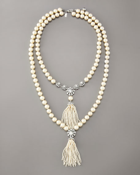 doubled tassel pearl necklace