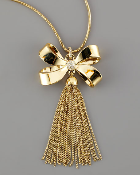 Bow Tassel Pendant Necklace
