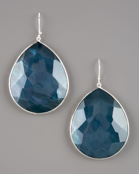 Extra-Large Teardrop Earrings, Blue