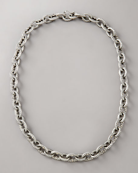 Pave Diamond-Link Necklace, Small