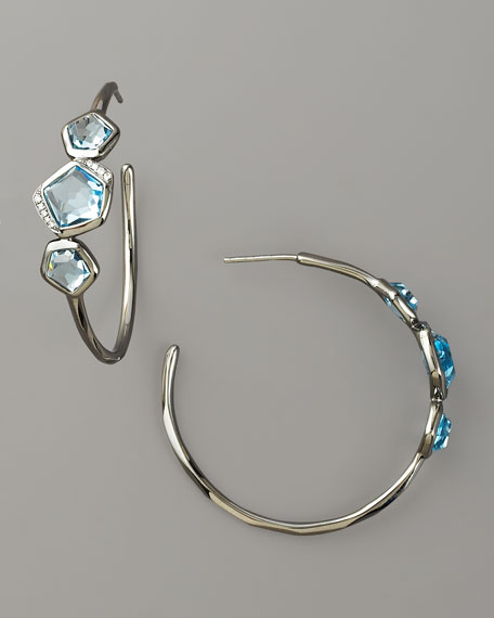 Blue Topaz & Diamond Hoop Earrings
