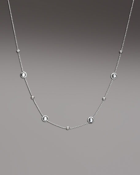 Diamond & Clear Quartz Station Necklace