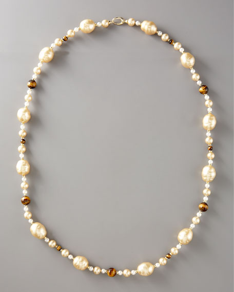 """Pearl & Tiger's Eye Necklace, 36""""L"""