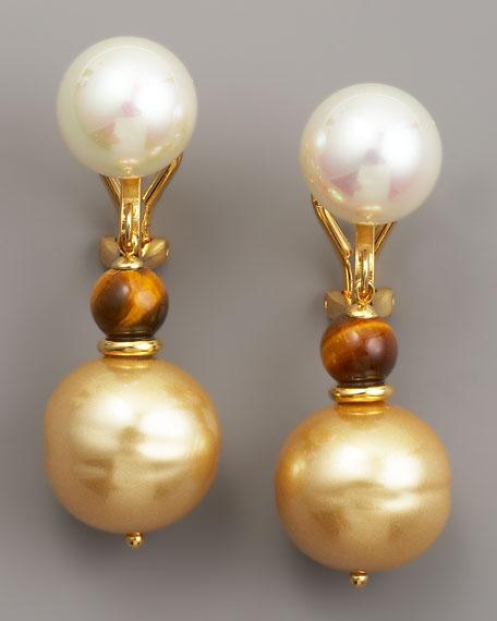 Pearl & Tiger's Eye Drop Earrings