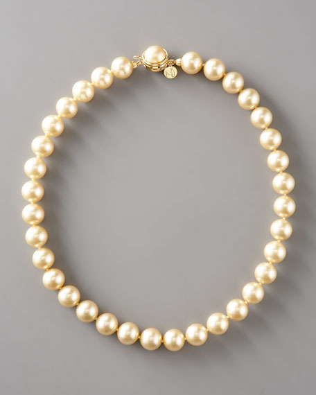 """Champagne Pearl Necklace, 18""""L"""