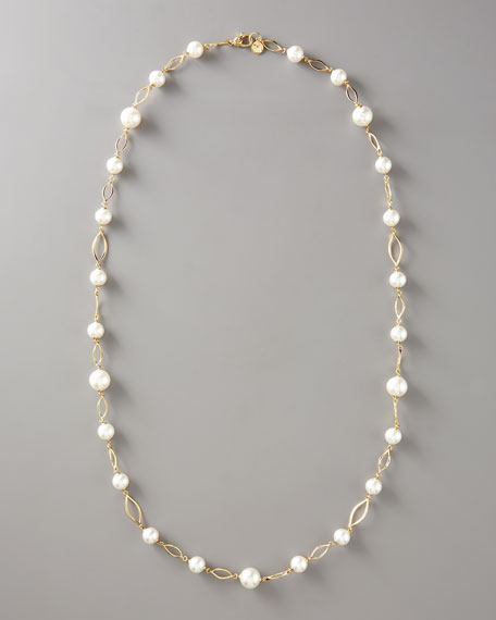 Pearl Link Necklace, Gold