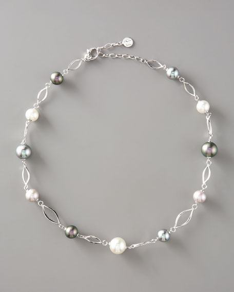 Pearl Link Necklace, Silver