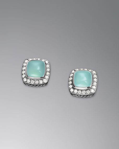Petite Albion Earrings, Aqua Chalcedony