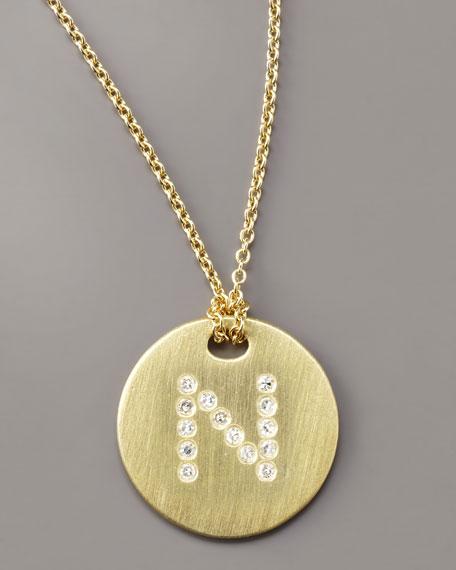 Letter Medallion Necklace, N