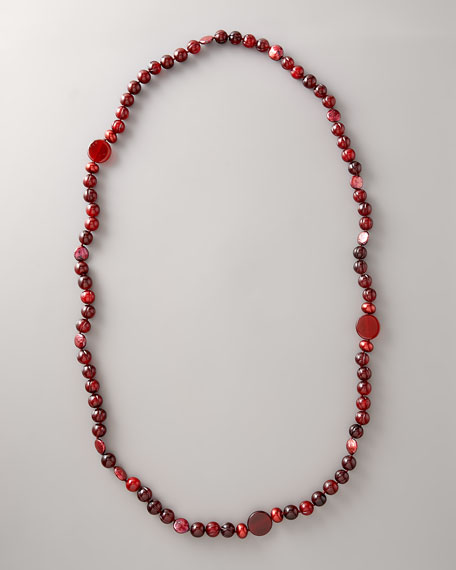 """Wine-Beaded Necklace, 40""""L"""