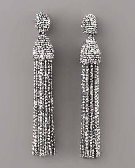 Beaded Tassel Earrings, Silver