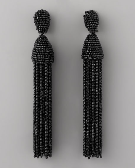Beaded Tassel Earrings, Black