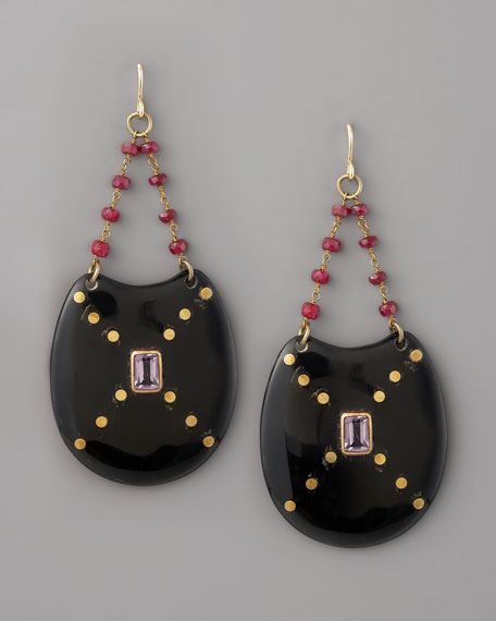 Kombe Drop Earrings, Dark Horn