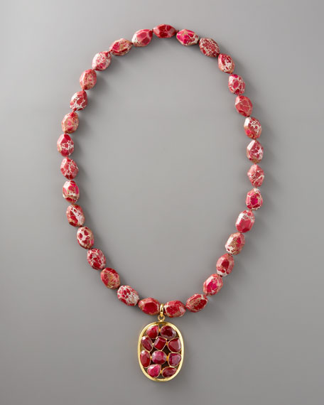 Ruby-Pendant Bead Necklace