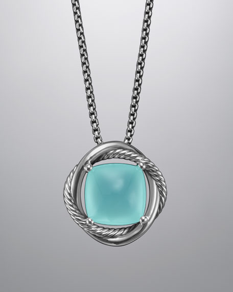 Infinity Necklace, Aqua Chalcedony, 14mm