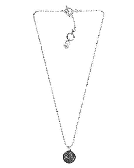 Pave Disc Necklace, Silver Color