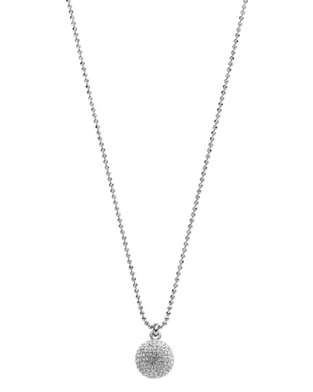 Pave Fireball Necklace, Silver