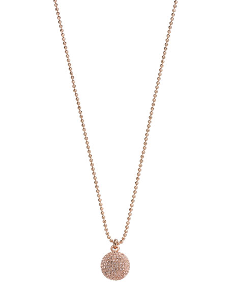 Pave Fireball Necklace, Rose Gold