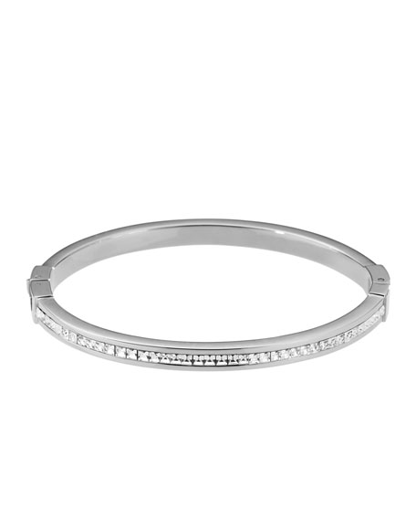 Pave Hinge Bangle, Silver Color