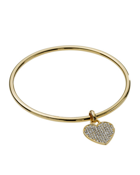Pave Heart Bangle, Golden