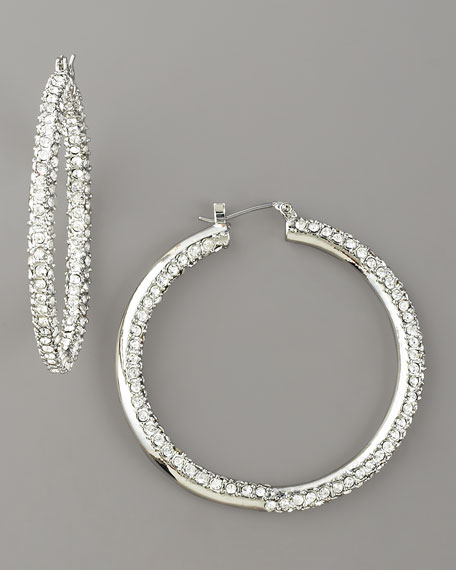 Pave Crystal Hoop Earrings, Silvertone