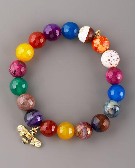 Multicolor Agate Bee-Charm Bracelet