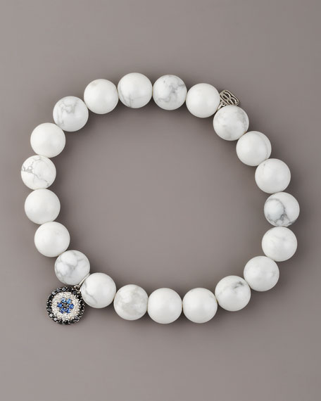Howlite & Diamond Evil Eye Bracelet