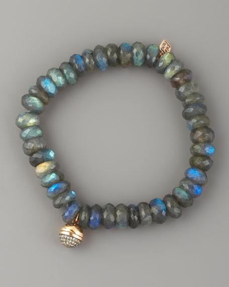 Labradorite & Diamond Bead Bracelet